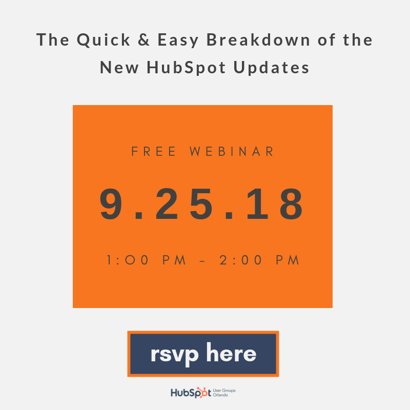 Join the Orlando HUG for a Webinar on HubSpot Product Updates